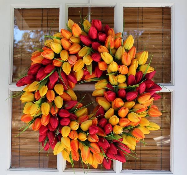Tulip front door wreath