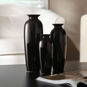 Set of three black vases
