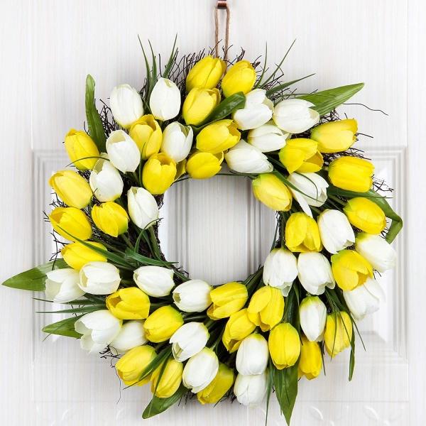 White and Yellow Tulip Wreath