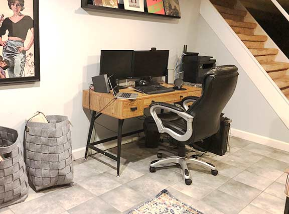 Home office in the basement.